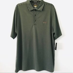 Greg Norman green and white short sleeve polo
